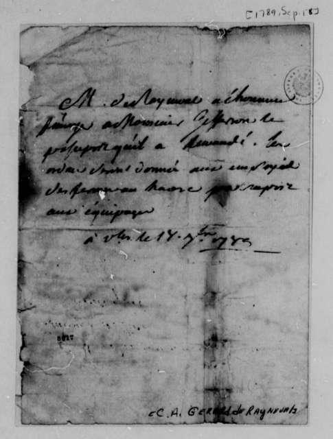 Conrad Alexandre Gerard de Rayneval to Thomas Jefferson, September 18, 1789
