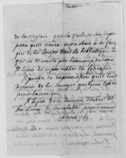 Count Sarsfield to Thomas Jefferson, April 26, 1789