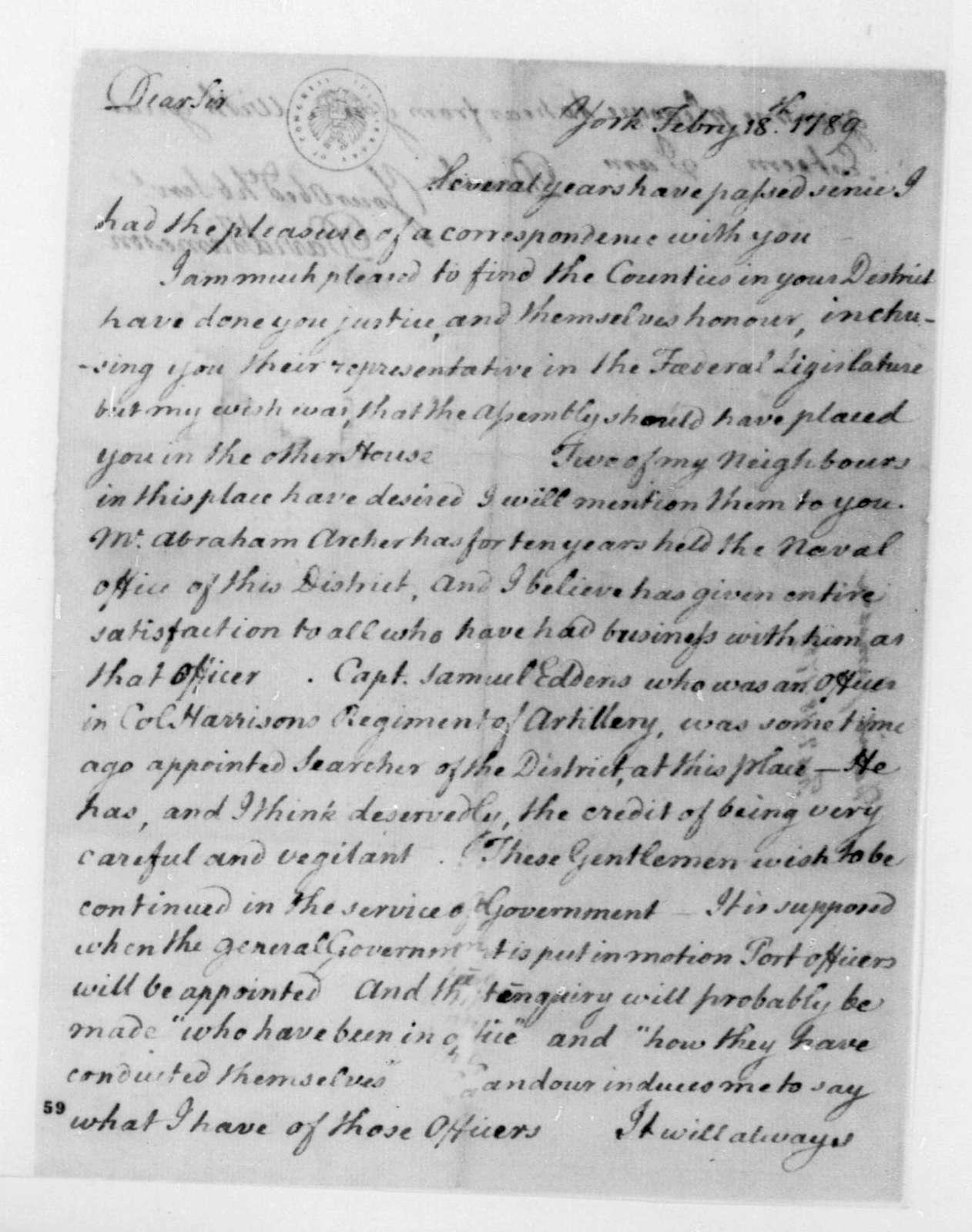 David Jameson to James Madison, February 18, 1789.