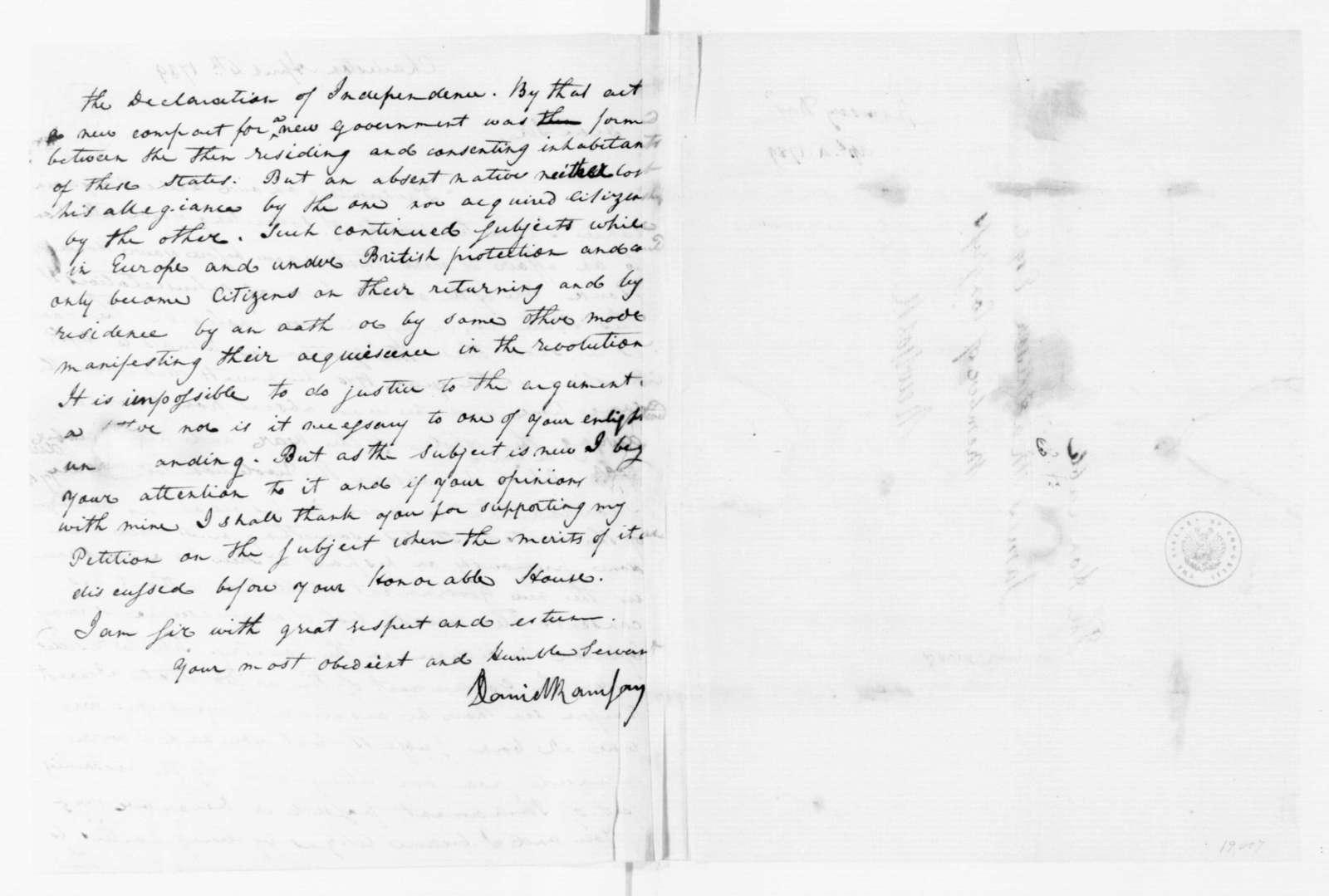 David Ramsay to James Madison, April 4, 1789.