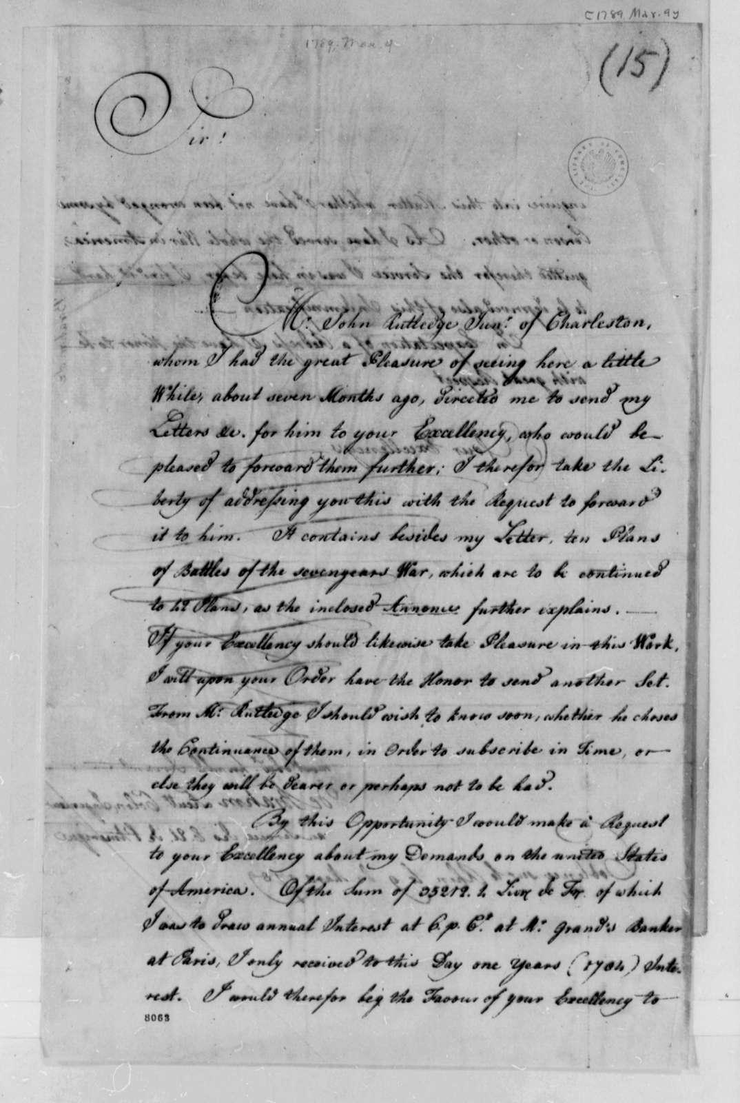 De Brahm to Thomas Jefferson, March 9, 1789