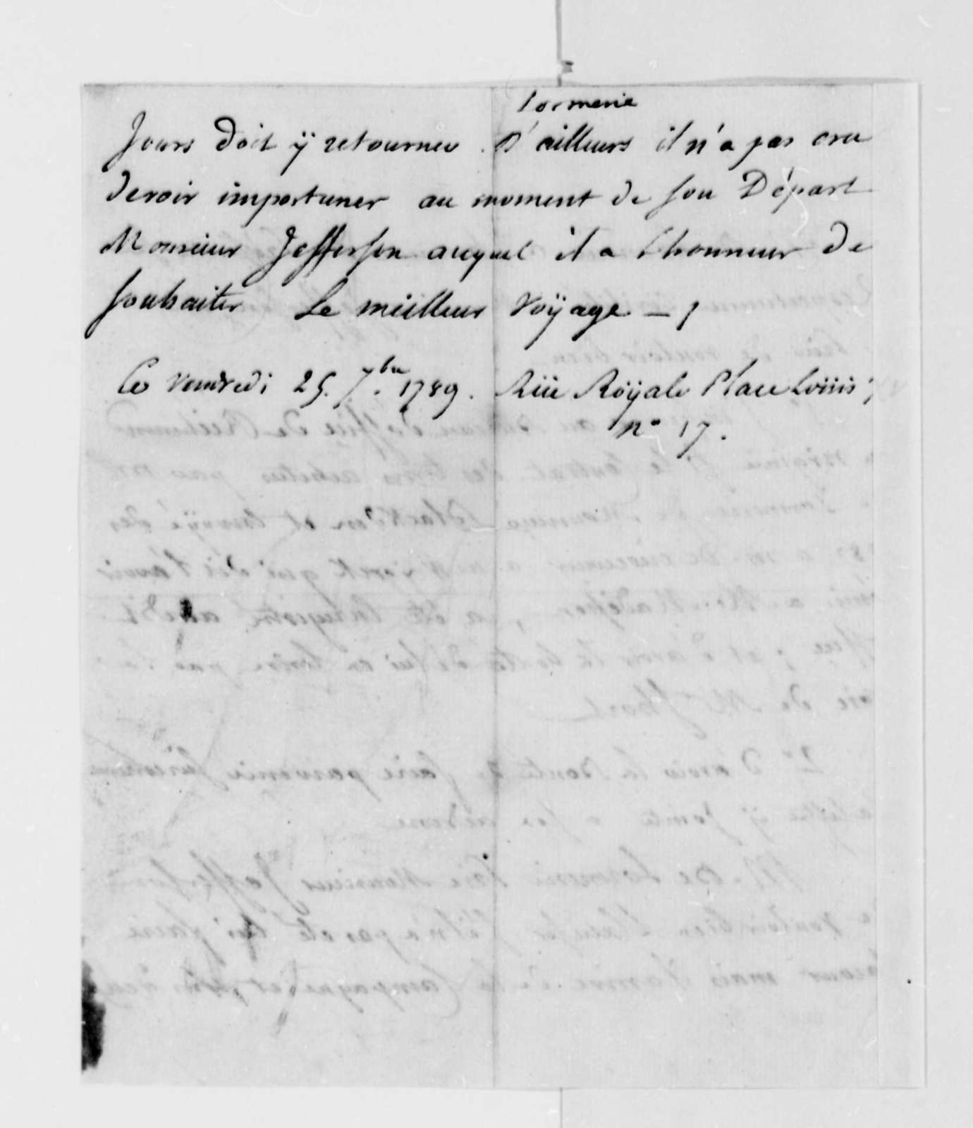 De Lormerie to Thomas Jefferson, September 25, 1789, in French