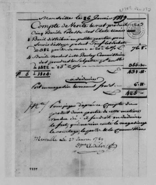 Dominique Audibert, January 26, 1789, Financial Account of Potash Sale; in French