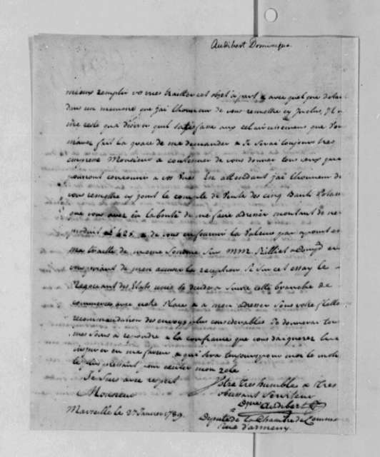 Dominique Audibert to Thomas Jefferson, January 26, 1789, Sent with Potash Report and Financial Account of Potash Sale; in French