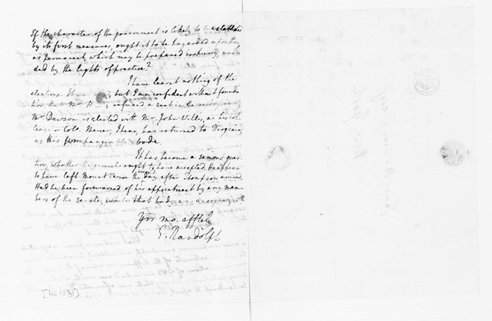 Edmund Randolph to James Madison, April 23, 1789.