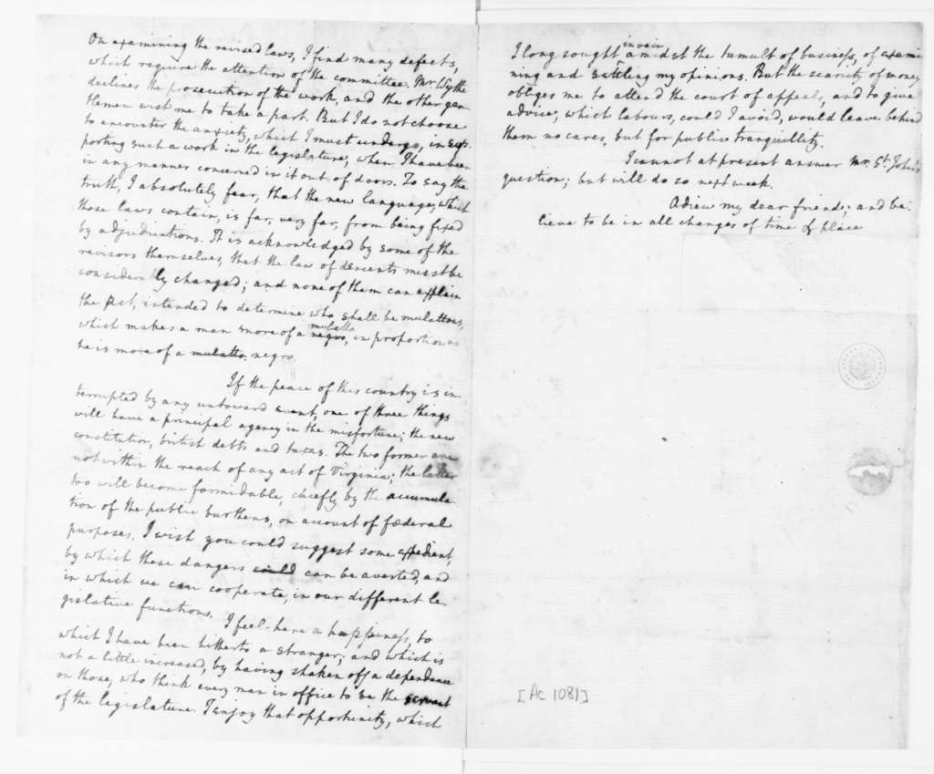 Edmund Randolph to James Madison, March 28, 1789.