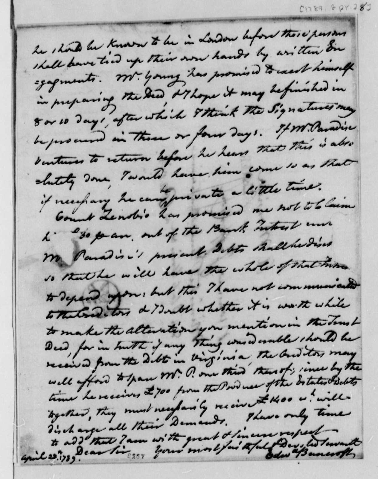 Edward Bancroft to Thomas Jefferson, April 28, 1789