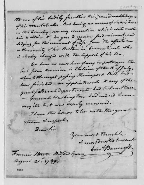 Edward Bancroft to Thomas Jefferson, August 21, 1789