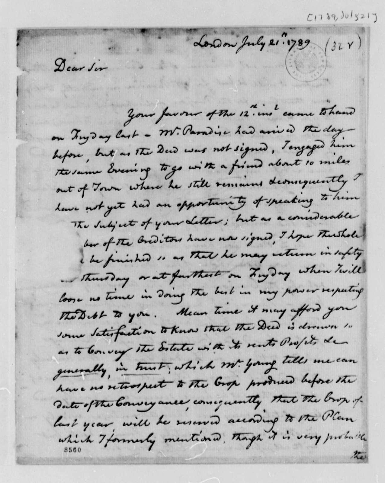 Edward Bancroft to Thomas Jefferson, July 21, 1789