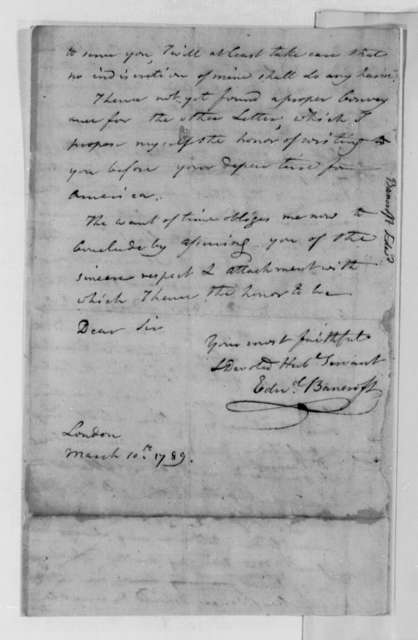 Edward Bancroft to Thomas Jefferson, March 10, 1789