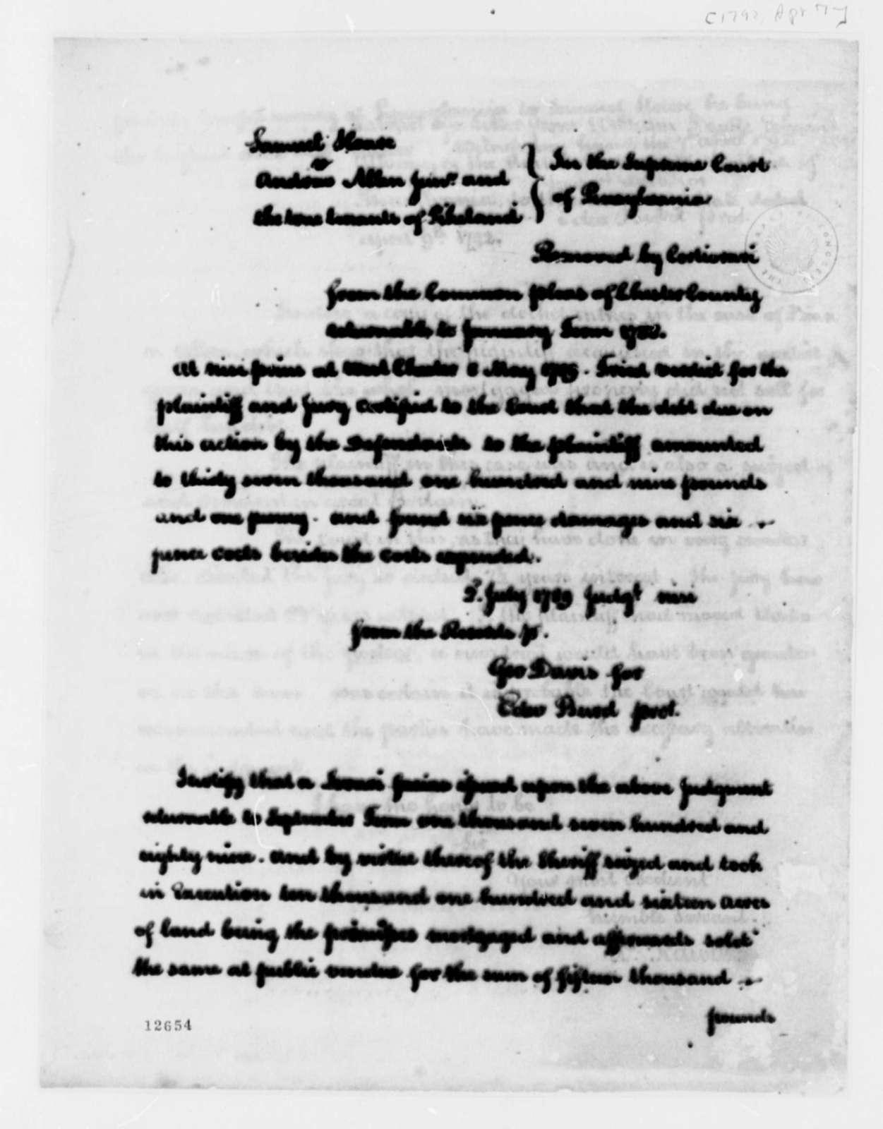 Edward Burd and George Davis to Supreme Court of Pennsylvania, July 2, 1789, Hoare versus Allen