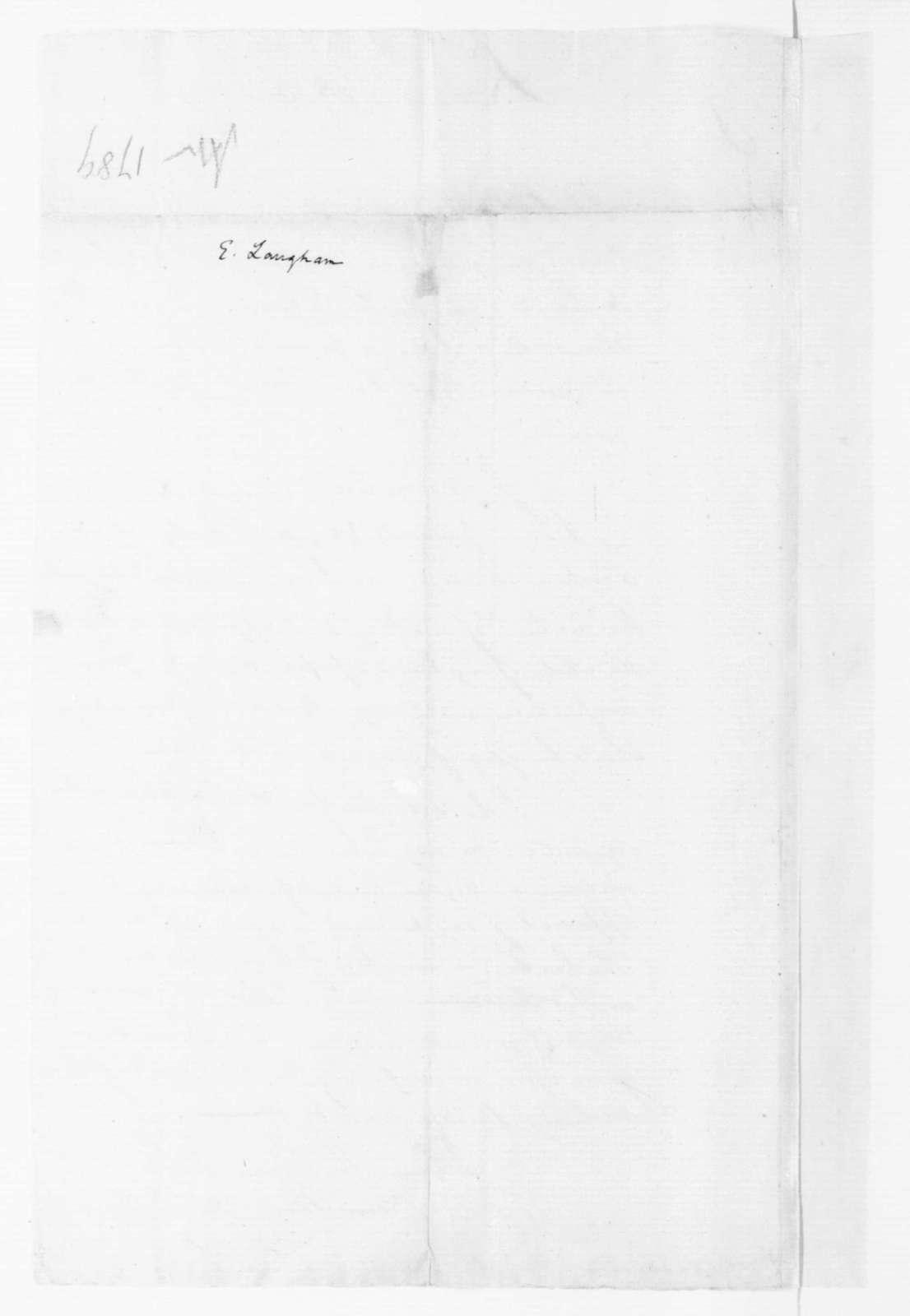 Elias Langham to James Madison, April 11, 1789.