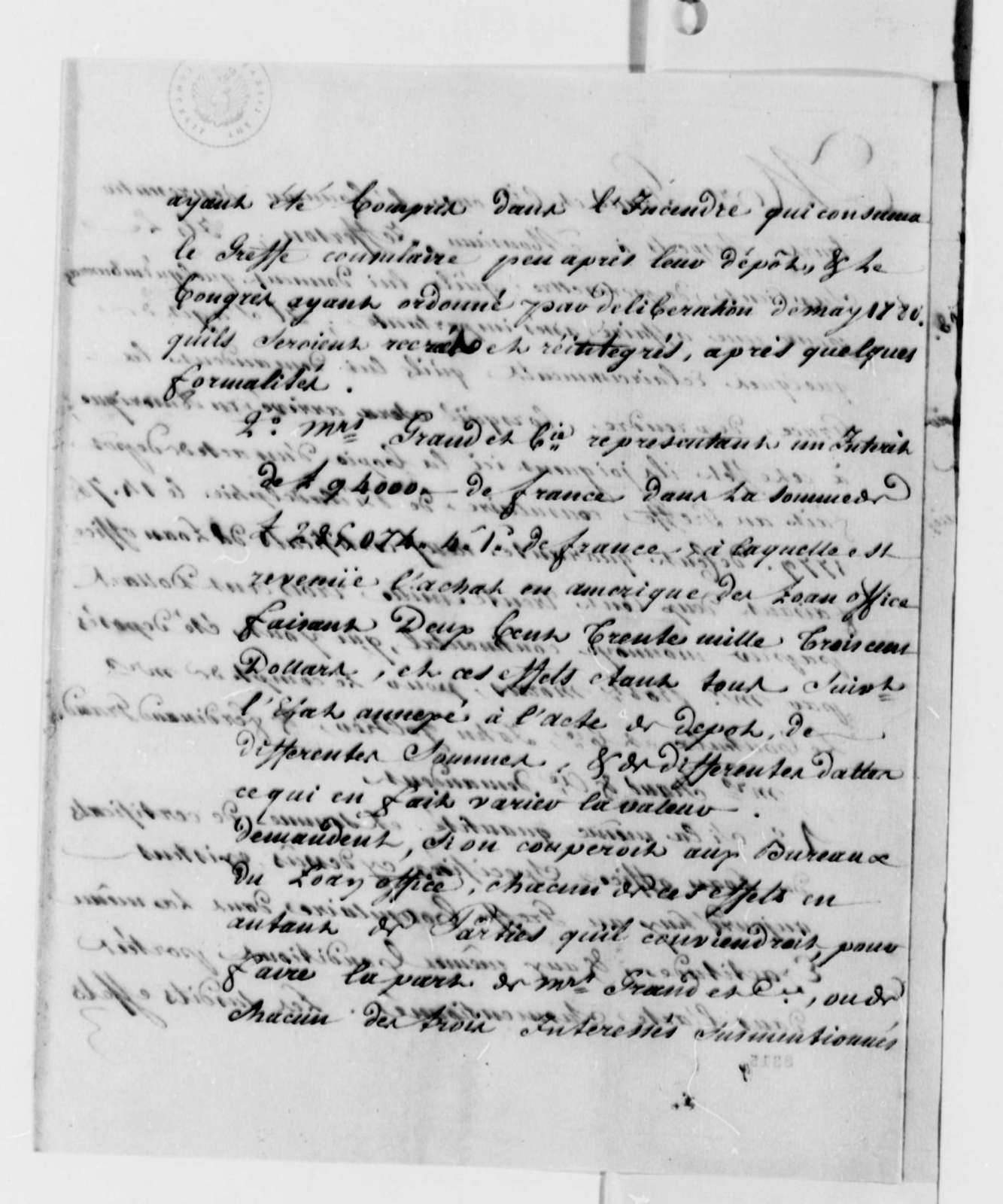 Ferdinand Grand & Company to Thomas Jefferson, May 9, 1789