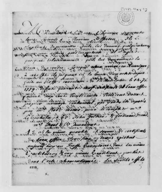 Ferdinand Grand & Company to Thomas Jefferson, May 9, 1789