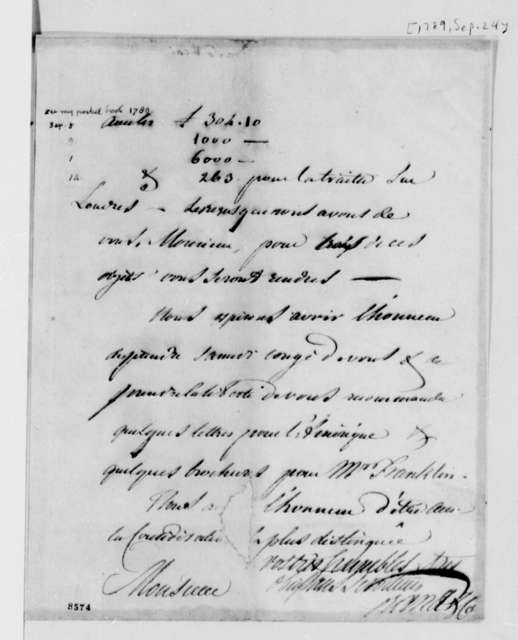 Ferdinand Grand & Company to Thomas Jefferson, September 24, 1789