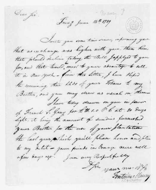Fontaine Maury to James Madison, June 14, 1789.