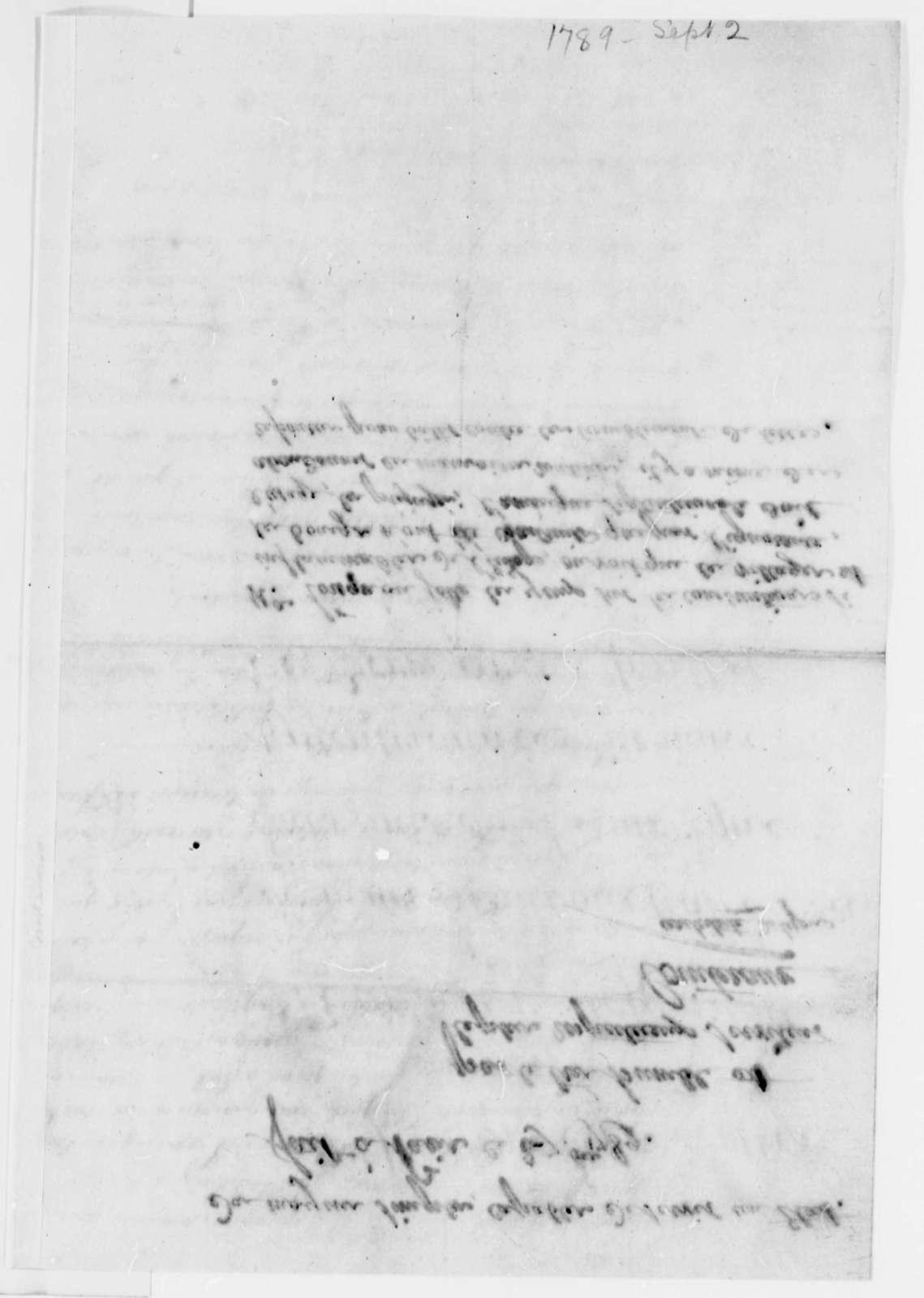 Francois Cointeraux to Thomas Jefferson, September 2, 1789