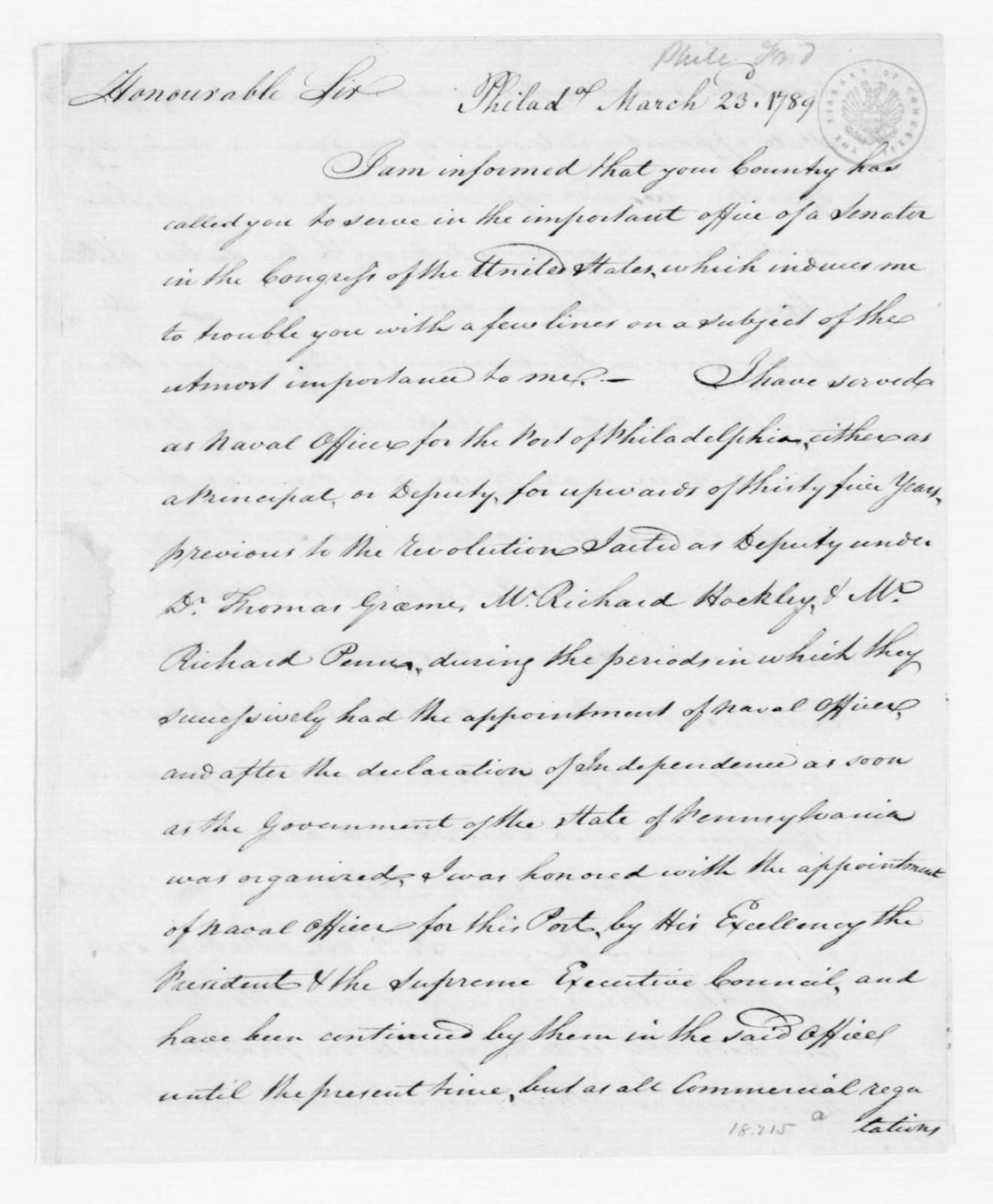Frederick Phile to John Henry, March 23, 1789.