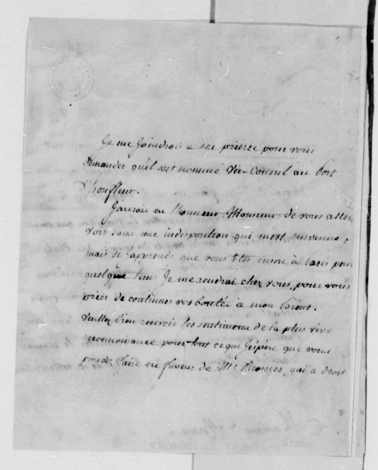 Frimont de Barail to Thomas Jefferson, August 29, 1789