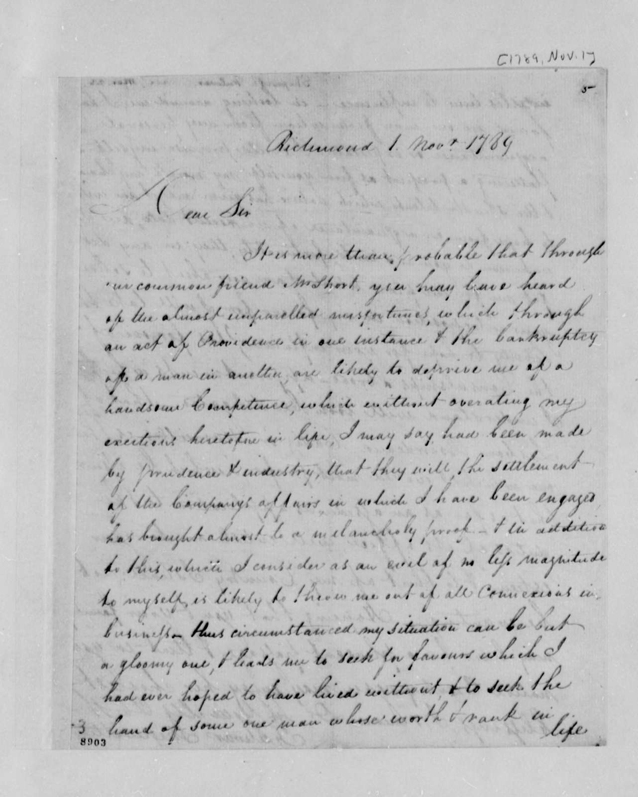 Fulwar Skipworth to Thomas Jefferson, November 1, 1789