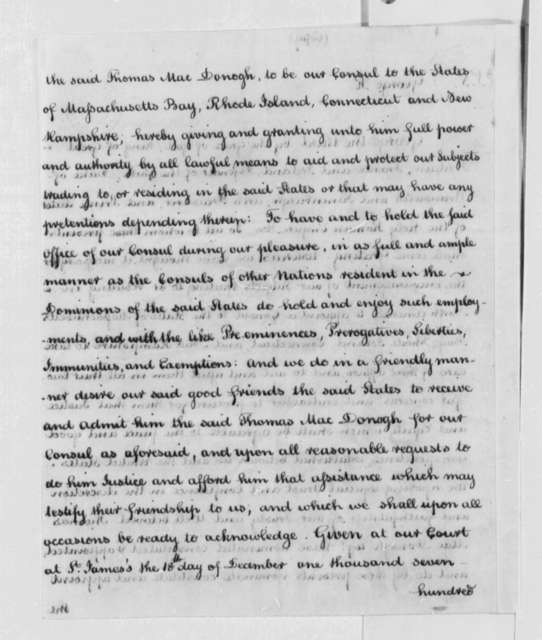 George III to Thomas MacDonough, December 18, 1789, Copy