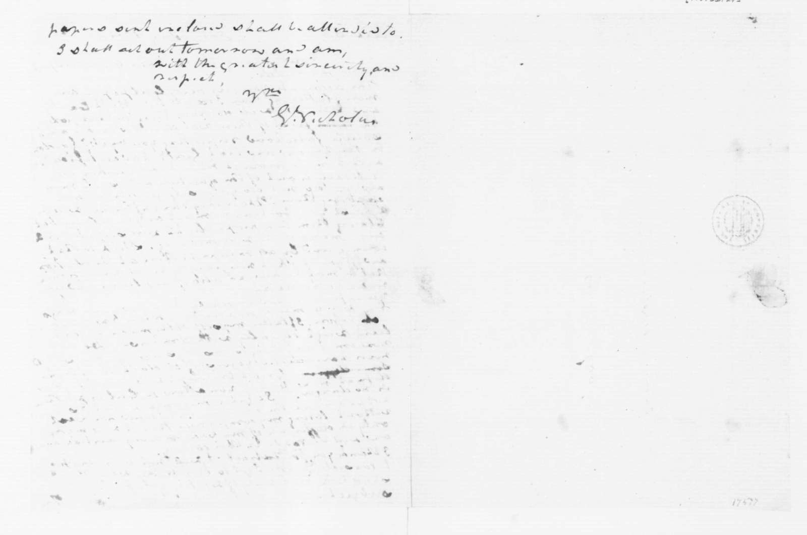 George Nicholas to James Madison, January 24, 1789.