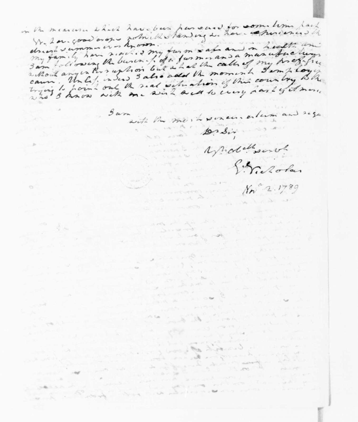 George Nicholas to James Madison, November 2, 1789.