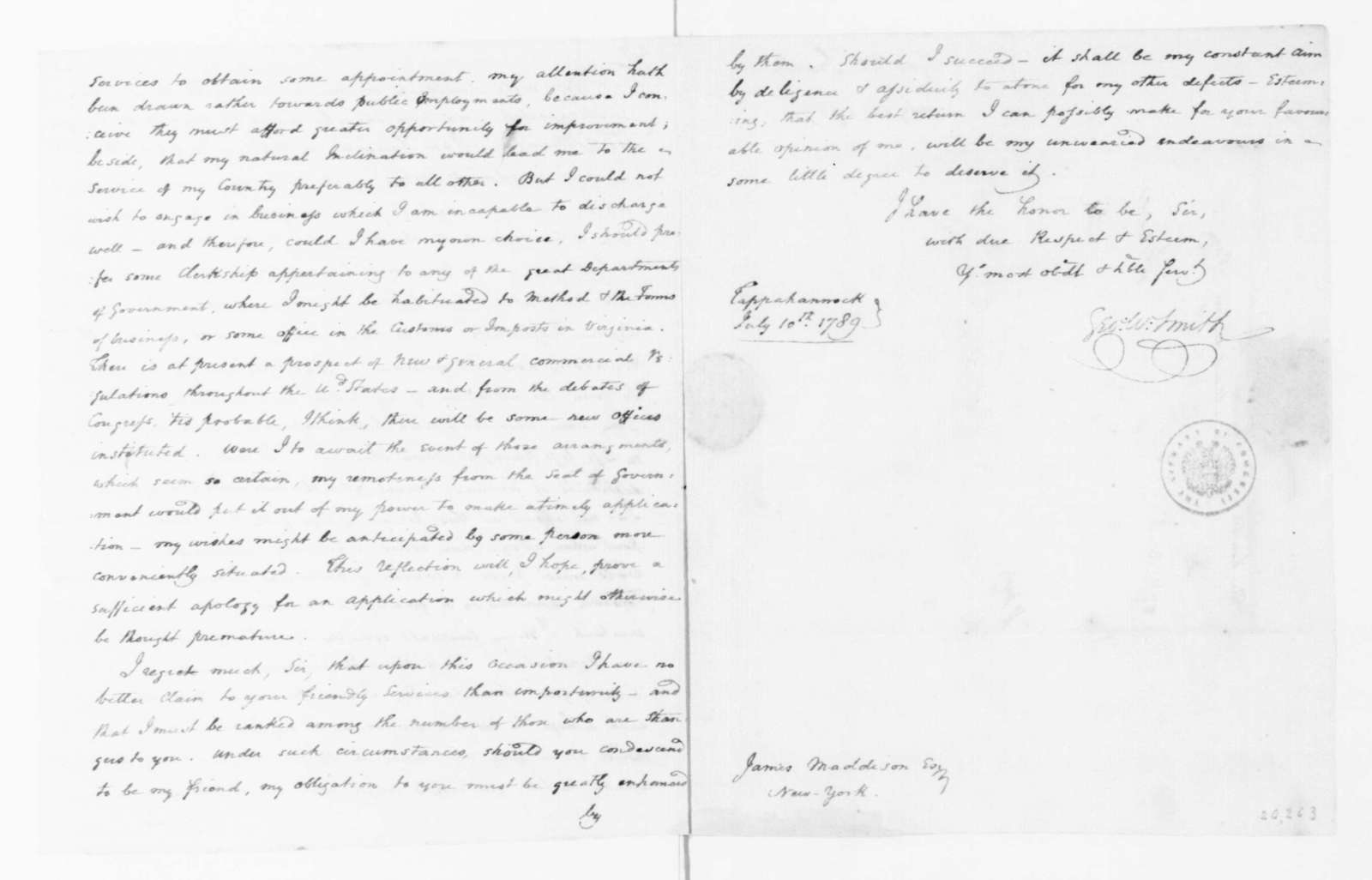 George W. Smith to James Madison, July 10, 1789.