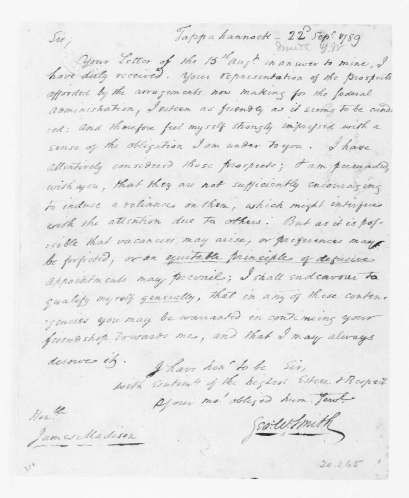 George W. Smith to James Madison, September 20, 1789.