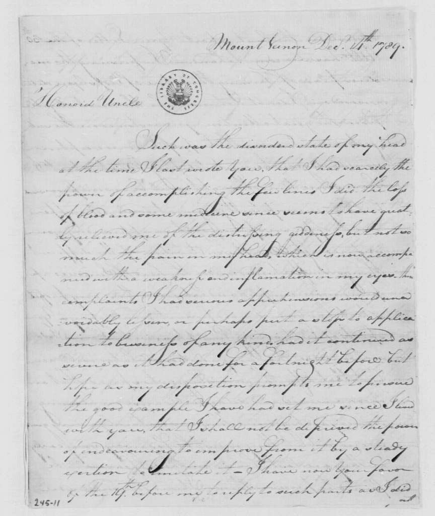 George Washington Papers, Series 4, General Correspondence: George Augustine Washington to George Washington, December 14, 1789