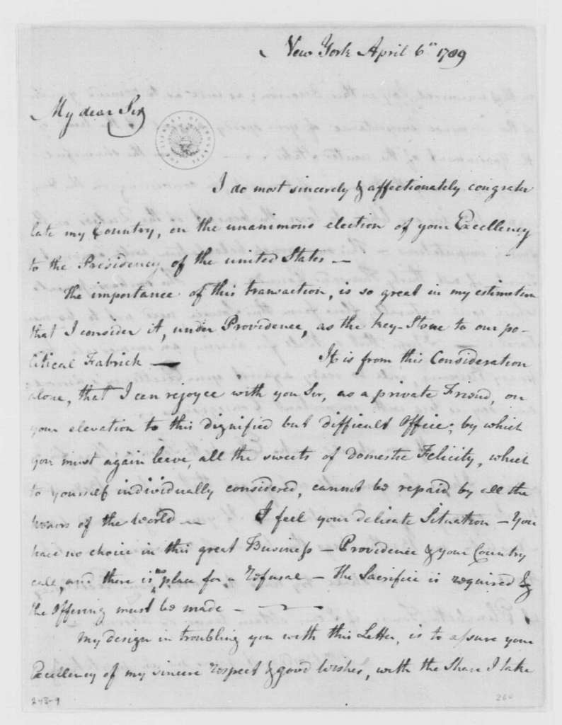 George Washington Papers, Series 4, General Correspondence: George Washington to Elias Boudinot, April 6, 1789