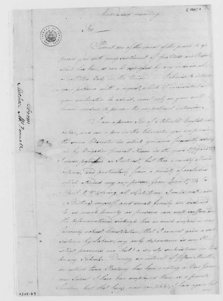 George Washington Papers, Series 4, General Correspondence: Michael McDonnell to George Washington, 1789