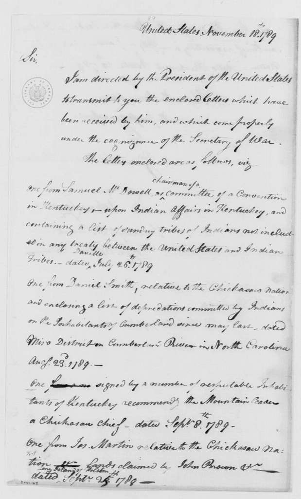 George Washington Papers, Series 4, General Correspondence: Tobias Lear to Henry Knox, November 18, 1789