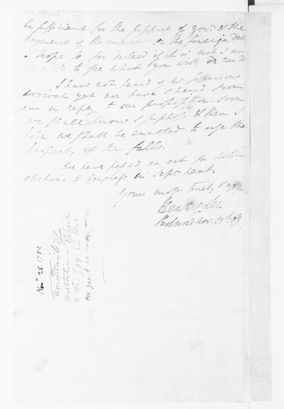 Henry Lee to James Madison, November 25, 1789.