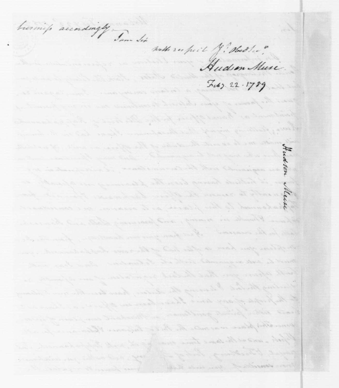 Hudson Muse to James Madison, February 22, 1789.