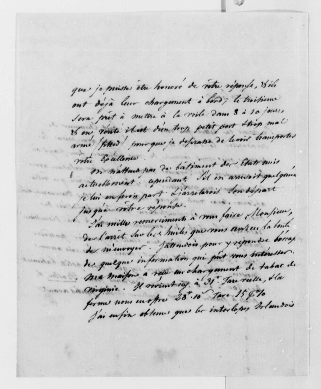 Jacob Vernes to Thomas Jefferson, 1789, in French