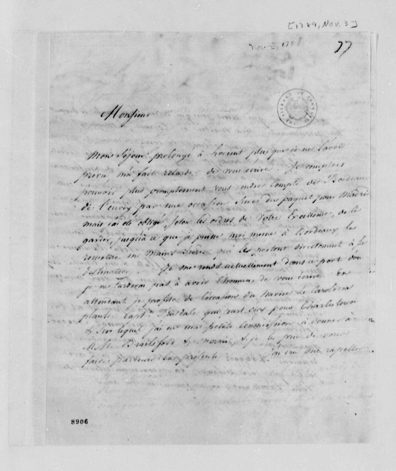 Jacob Vernes to Thomas Jefferson, November 3, 1789, in French