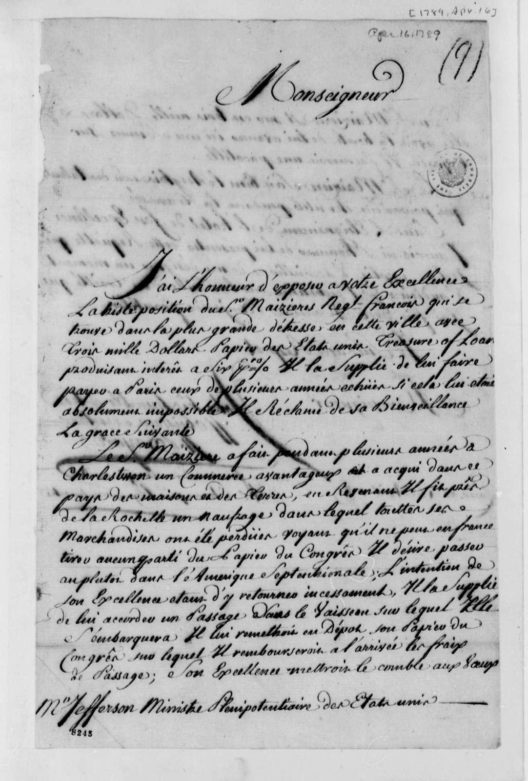 James A. Bayard to Thomas Jefferson, April 16, 1789, in French