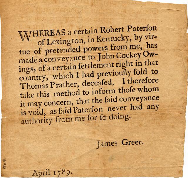 James Greer broadside voiding a land transaction