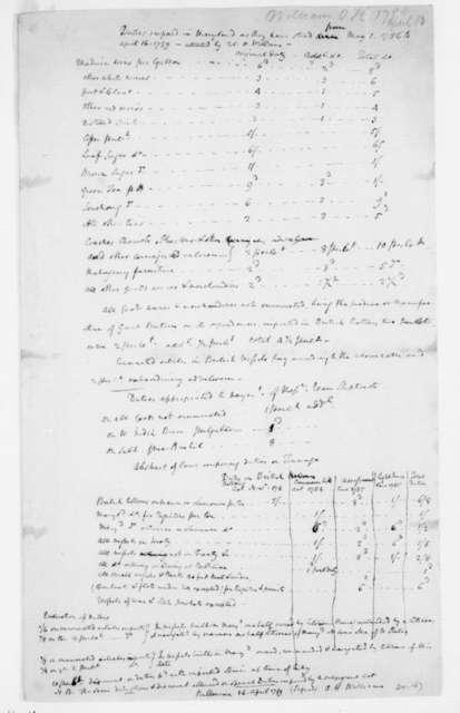 """James Madison, April 16, 1789. """"Maryland Imports & Tonnage""""."""