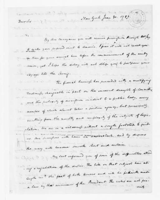 James Madison to Thomas Jefferson, June 30, 1789. [incomplete in original].