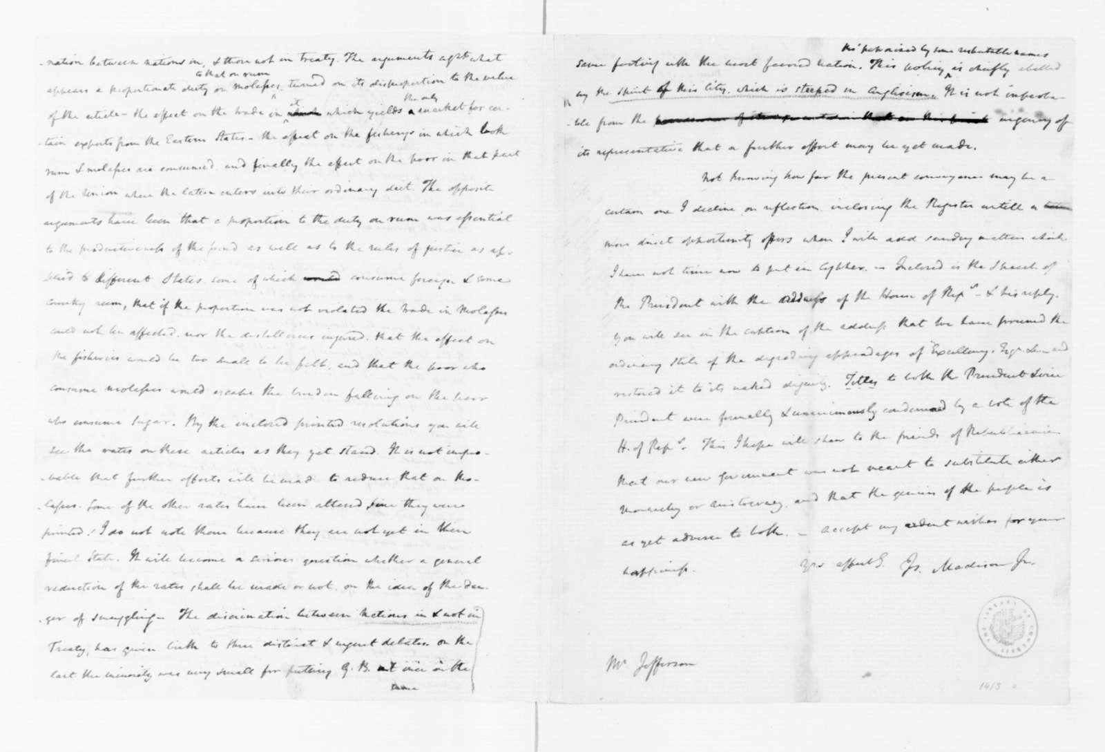 James Madison to Thomas Jefferson, May 8, 1789.