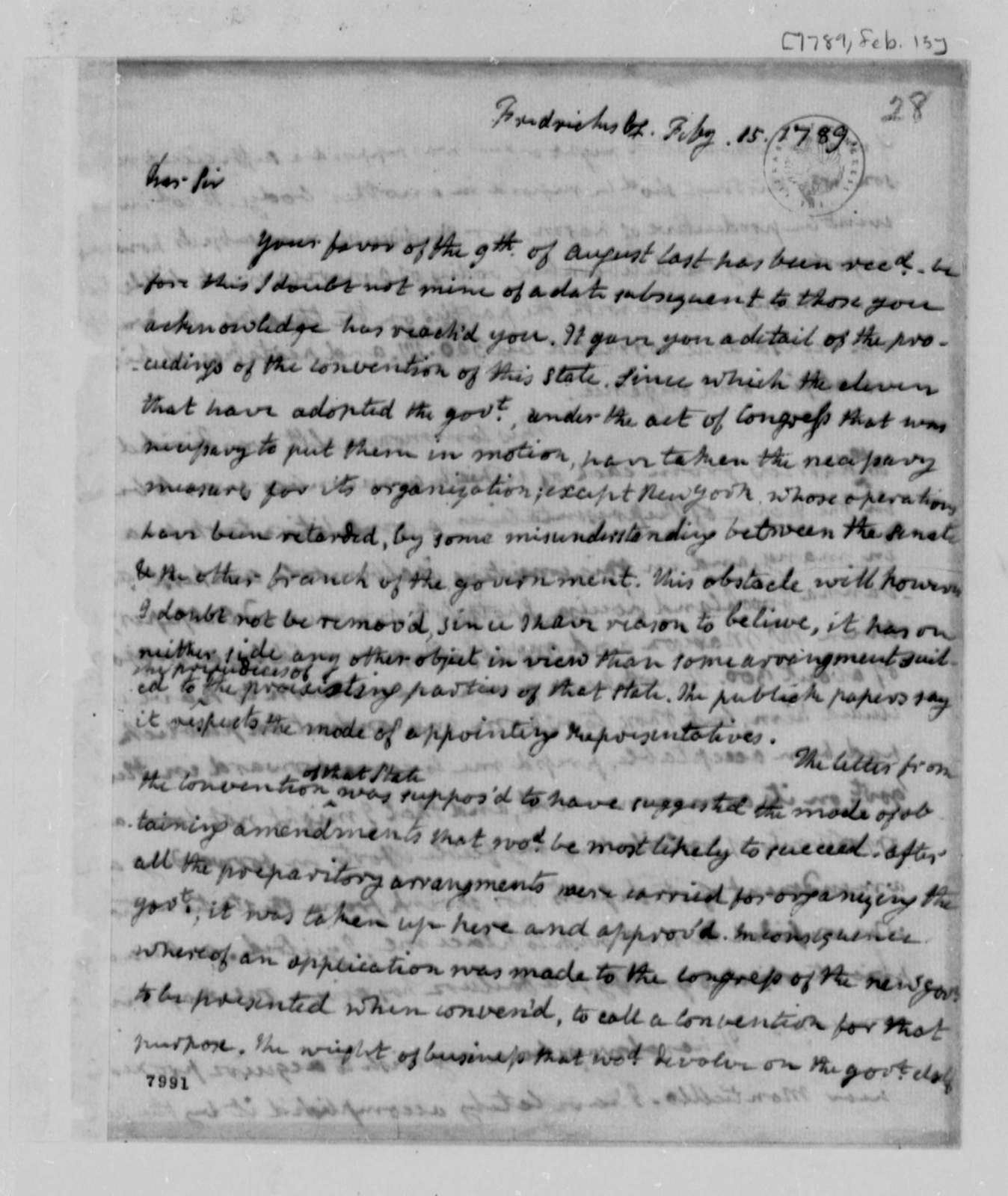 James Monroe to Thomas Jefferson, February 15, 1789