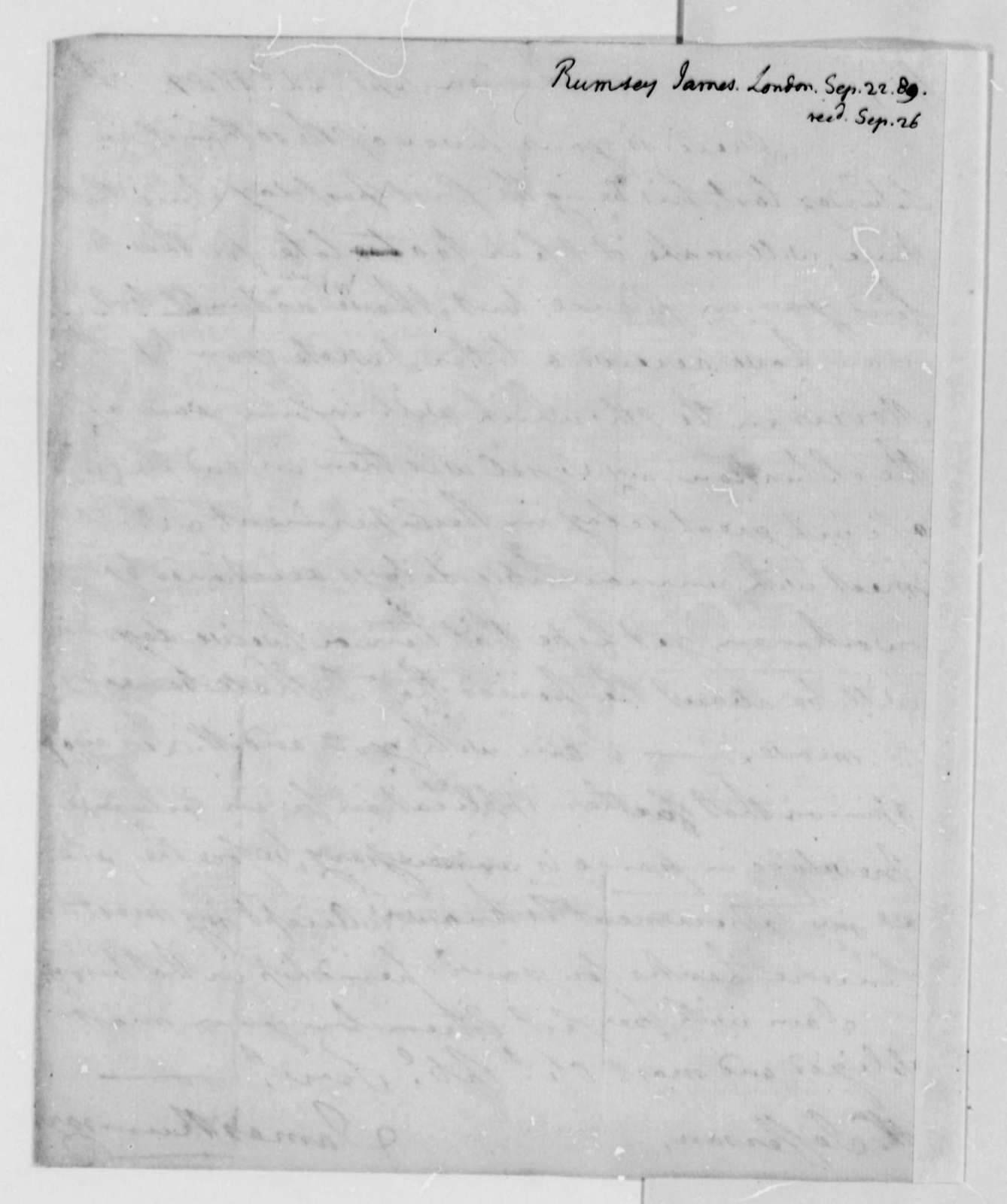 James Rumsey to Thomas Jefferson, September 22, 1789
