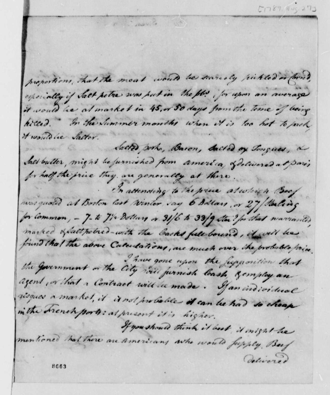 James Swan to Thomas Jefferson, August 27, 1789
