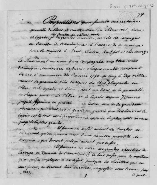 James Swan to Thomas Jefferson, July 10, 1789, with Propositions for the Woods to be Presented to the French Minister of Marine