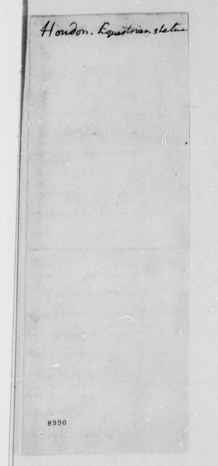 Jean Antoine Houdon, 1789, Revised Estimate for Bronze Statue of George Washington