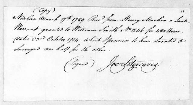 Joe Fitzgreaves to Henry Machen, March 17, 1789