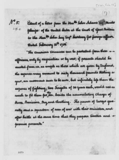 John Adams to John Jay, February 16, 1789, Extract