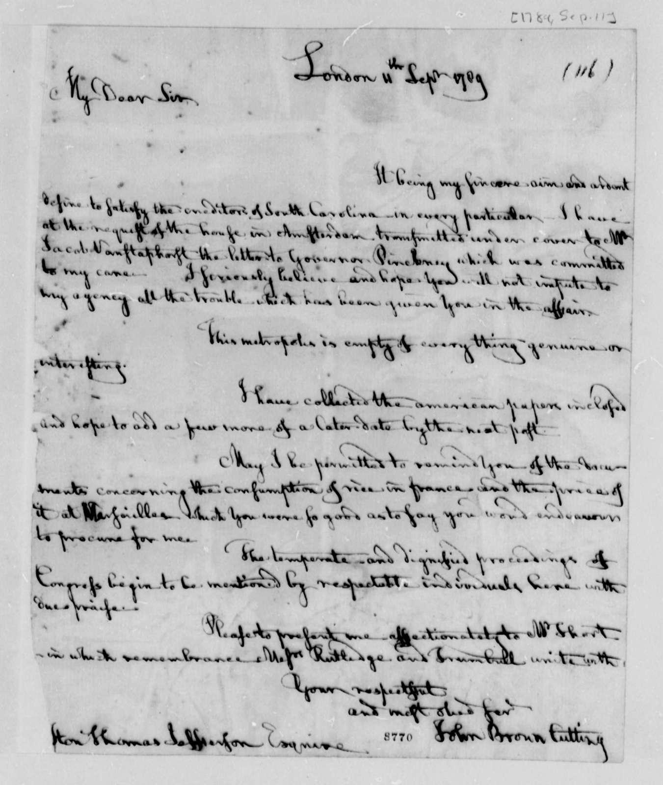 John B. Cutting to Thomas Jefferson, September 11, 1789